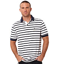 Nautica® Men's Bright White Short Sleeve Striped Polo
