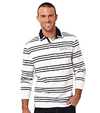 Nautica® Men's Bright White Long Sleeve Quarter Zip Striped Knit