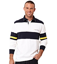 Nautica® Men's Bright White Bold Stripe Quarter Zip Knit