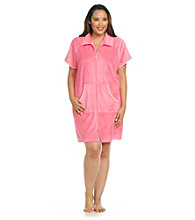 Jasmine Rose® Plus Size Stripe Trim Short Zip Robe