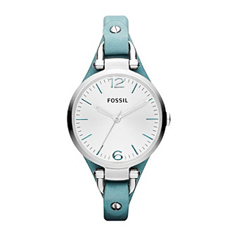 Fossil® Silvertone/Teal Ladies' Georgia Watch
