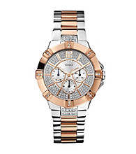 Guess Silvertone & Rose Goldtone Dazzling Sport Watch