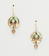 Silver Forest® Green & Goldtone Three Circles Earrings