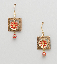 Silver Forest® Square with Circle Flower Earrings
