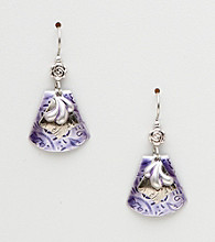 Silver Forest® Three Layered Purple Shield Earrings