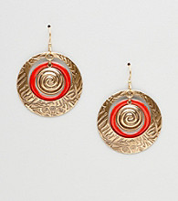 Silver Forest® Red & Goldtone Large Circles Earrings