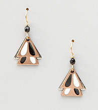 Silver Forest® Double Black & White Triangle Earrings