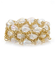 L&J Accessories Clear Ab Glass and Chain Stretch Bracelet