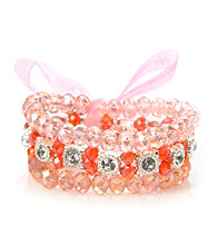 L&J Accessories Triple Row Pink and Red Glass Stretch Bracelet
