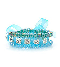 L&J Accessories Triple Row Aqua Glass Stretch Bracelet