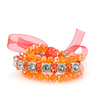 L&J Accessories Triple Row Orange Glass Stretch Bracelet