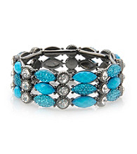 L&J Accessories Turquoise Glass Agate Stone Link Stretch Bracelet
