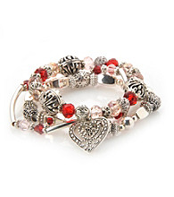 L&J Accessories Three Row Red and Pink Glass with Silvertone Heart Bracelet