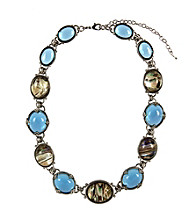 Napier® Silvertone and Blue Abalone Multi Collar Necklace