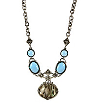 Napier® Silvertone and Blue Abalone Multi Pendant Necklace