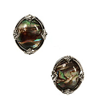 Napier® Silvertone and Blue Abalone Oval Button Clip Earrings