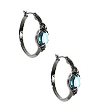 Napier® Silvertone and Blue Abalone Click It Hoop Earrings