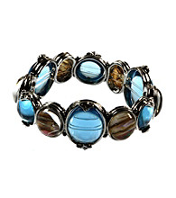 Napier® Silvertone and Blue Abalone Stretch Bracelet