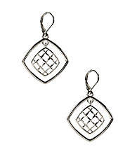 Napier® Silvertone Door Knocker Leverback Drop Earrings