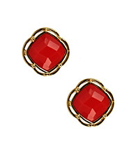 Napier® Goldtone and Coral Button Post Earrings