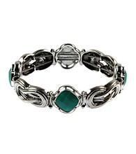 Napier® Silvertone and Turquoise Stretch Bracelet