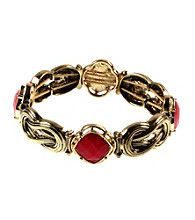 Napier® Goldtone and Coral Stretch Bracelet