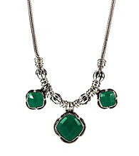 Napier® Silvertone and Turquoise Reversible Frontal Necklace