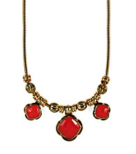 Napier® Goldtone and Coral Reversible Frontal Necklace
