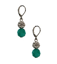 Napier® Silvertone and Turquoise Leverback Drop Earrings