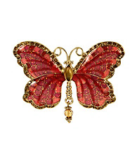 Napier® Boxed Gold/Pink Multi Butterfly Pin