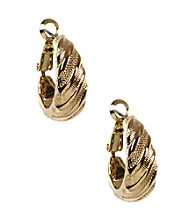 Napier® Goldtone Textured Clip Earrings
