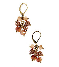 Anne Klein® Goldtone Coral Cluster Earrings