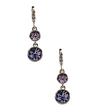 Givenchy® Silvertone/Purple Drop Earrings