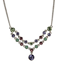 Givenchy® Silvertone/Green/Brown/Purple Frontal Necklace