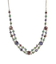 Givenchy® Silvertone/Purple/Green Collar Necklace