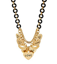 Betsey Johnson® Goldtone Multi Heart Charm Frontal Necklace