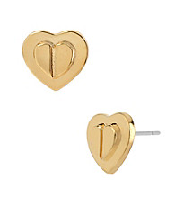 Betsey Johnson® Goldtone Layered Heart Stud Earrings