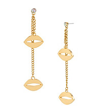 Betsey Johnson® Goldtone Lips Linear Earrings