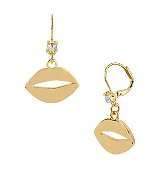 Betsey Johnson® Goldtone Lips Drop Earrings