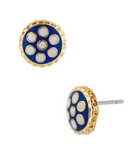 Betsey Johnson® Blue Polka Dot Round Stud Earrings
