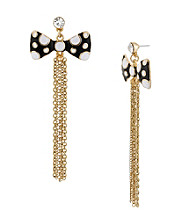Betsey Johnson® Black Polka Dot Bow Multi Chain Linear Earrings