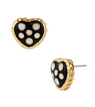 Betsey Johnson® Black Polka Dot Heart Stud Earrings