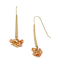 Kenneth Cole® Orange Faceted Shaky Bead Linear Earrings