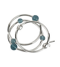 Kenneth Cole® Blue Bead and Silvertone Stretch Bangle Bracelet Set