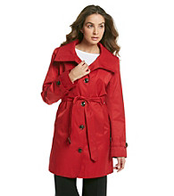 Gallery® Single-Breasted Trench Coat with Stand Collar