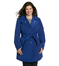London Fog® Plus Size Double Collar Single-Breasted Trench Coat