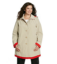 London Fog® Plus Size Single-Breasted Colorblocked Walker