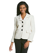 Kasper® Tweed Jacket With Round Notch Collar