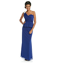 Xscape One-Shoulder Peplum Long Gown