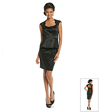 Xscape Peplum Dress With Lace